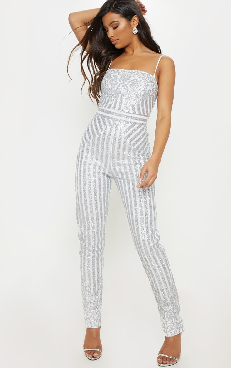 96d0d38773 Silver Glitter Striped Strappy Jumpsuit image 1