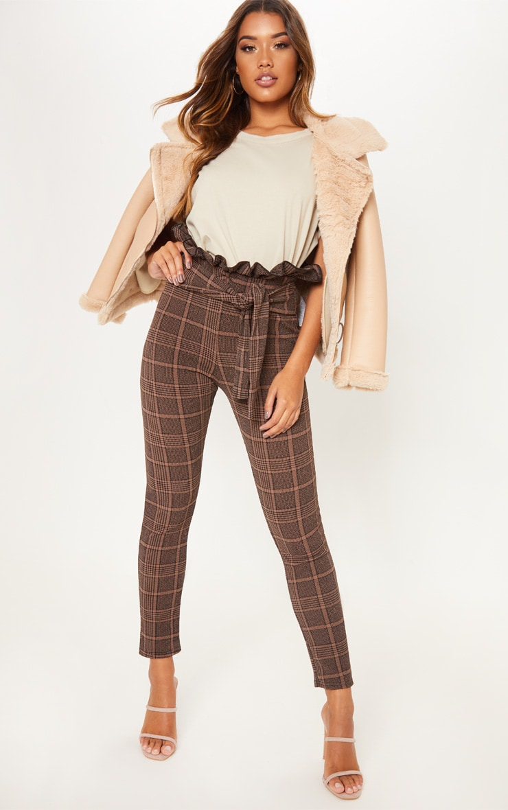 Chocolate Printed Paperbag Skinny Trouser