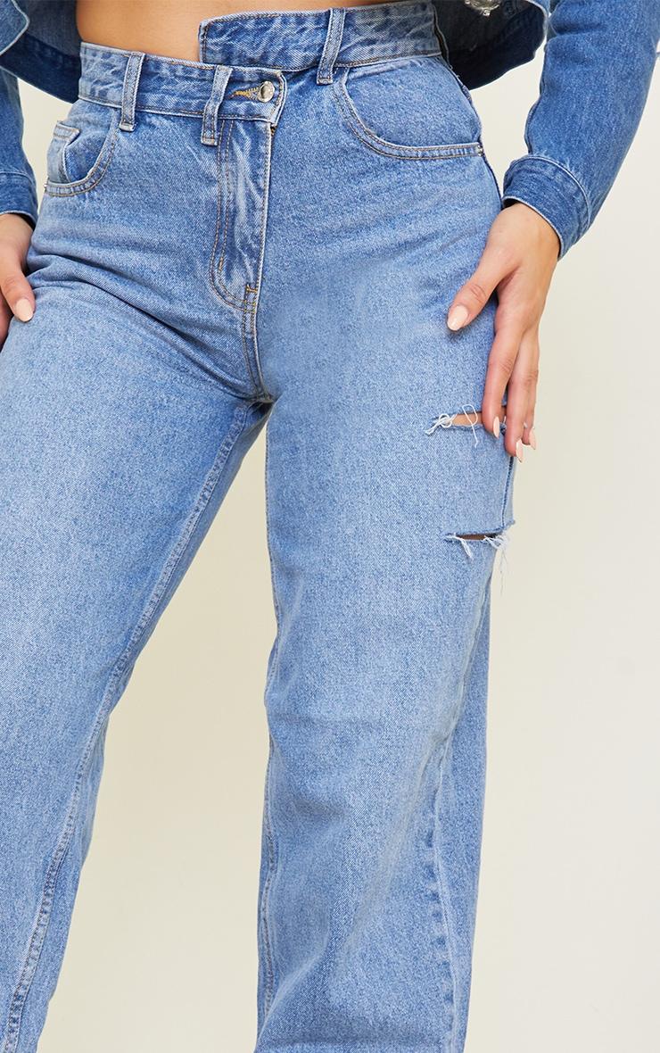 Tall Light Blue Wash Baggy Low Rise Asymmetric Waistband Thigh Split Boyfriend Jeans 4