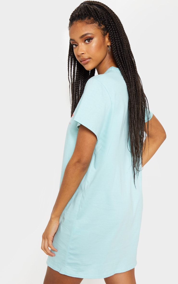 Teal Chicago Slogan Oversized Washed T Shirt Dress 2