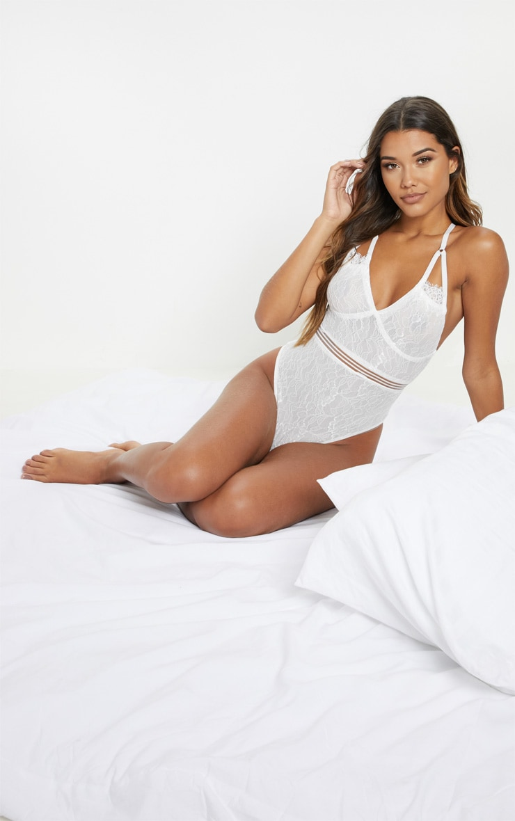Emsie White Cut Out Detail Lace Thong Bodysuit 6