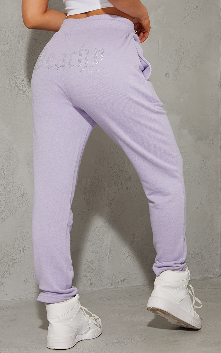 Lavender Diamante Detail Tapered Joggers 3
