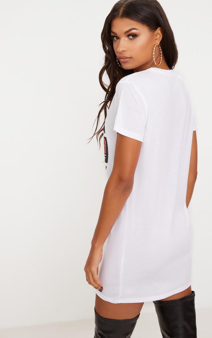White Racing Motocross T Shirt Dress 2