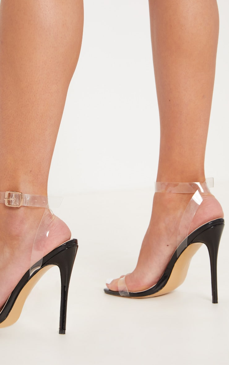 Black Patent Square Toe Clear Strappy Sandal  3