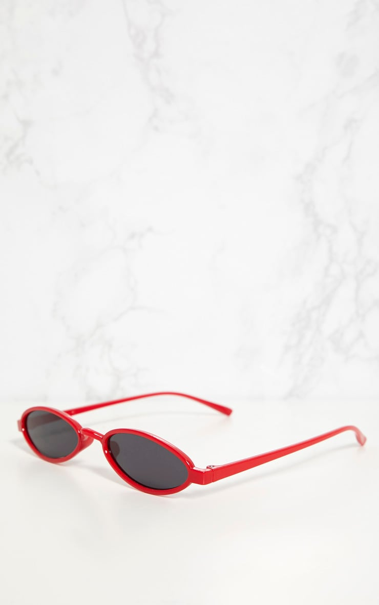 Red Small Oval Sunglasses 3