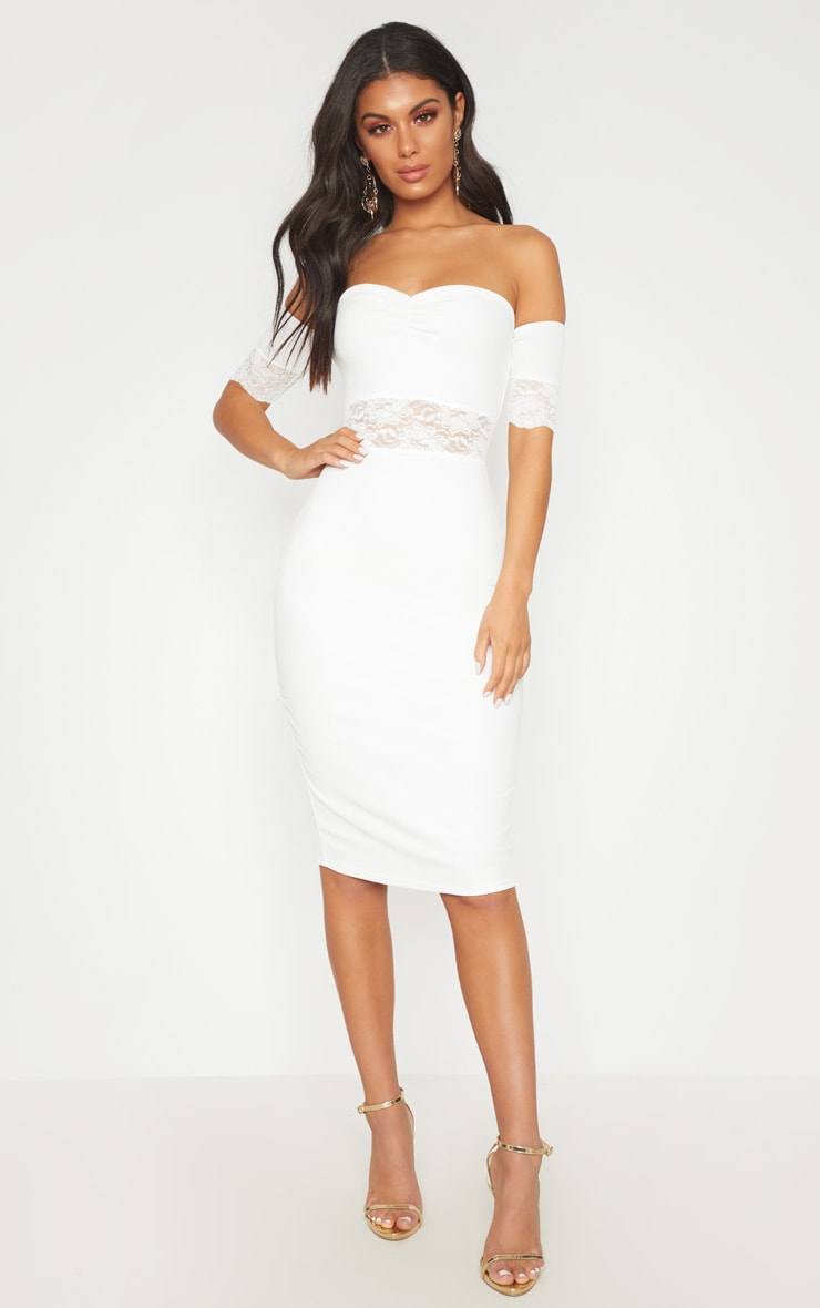 White Lace Trim Bardot Midi Dress 1