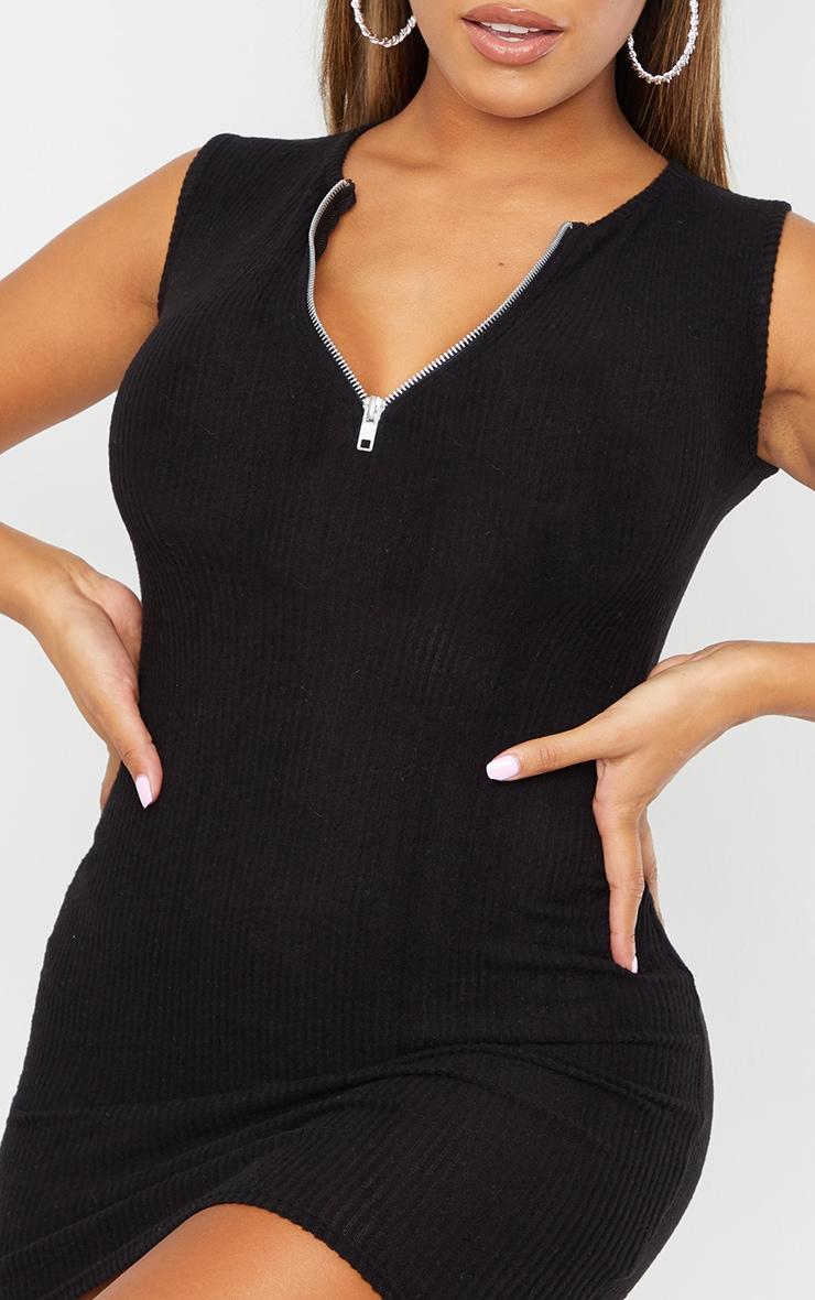 Shape Black Brushed Rib Zip Detail Sleeveless Bodycon Dress 4