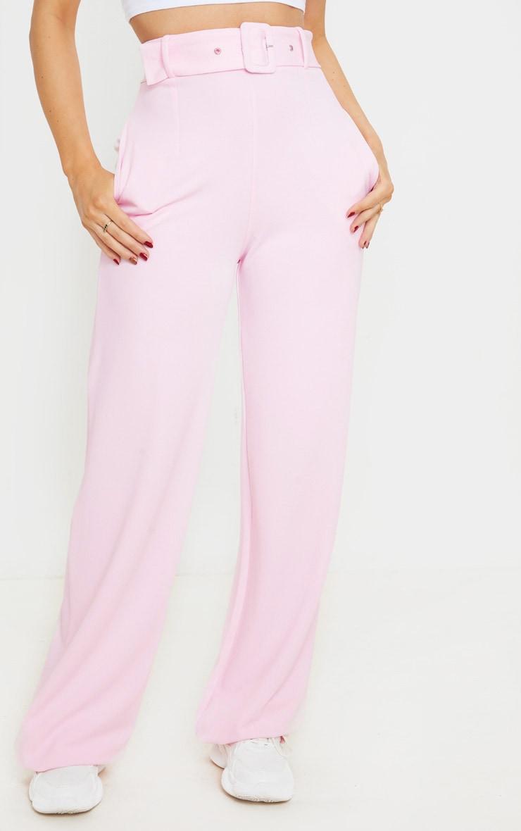 Pantalon jambes évasées rose à détail ceinture 2