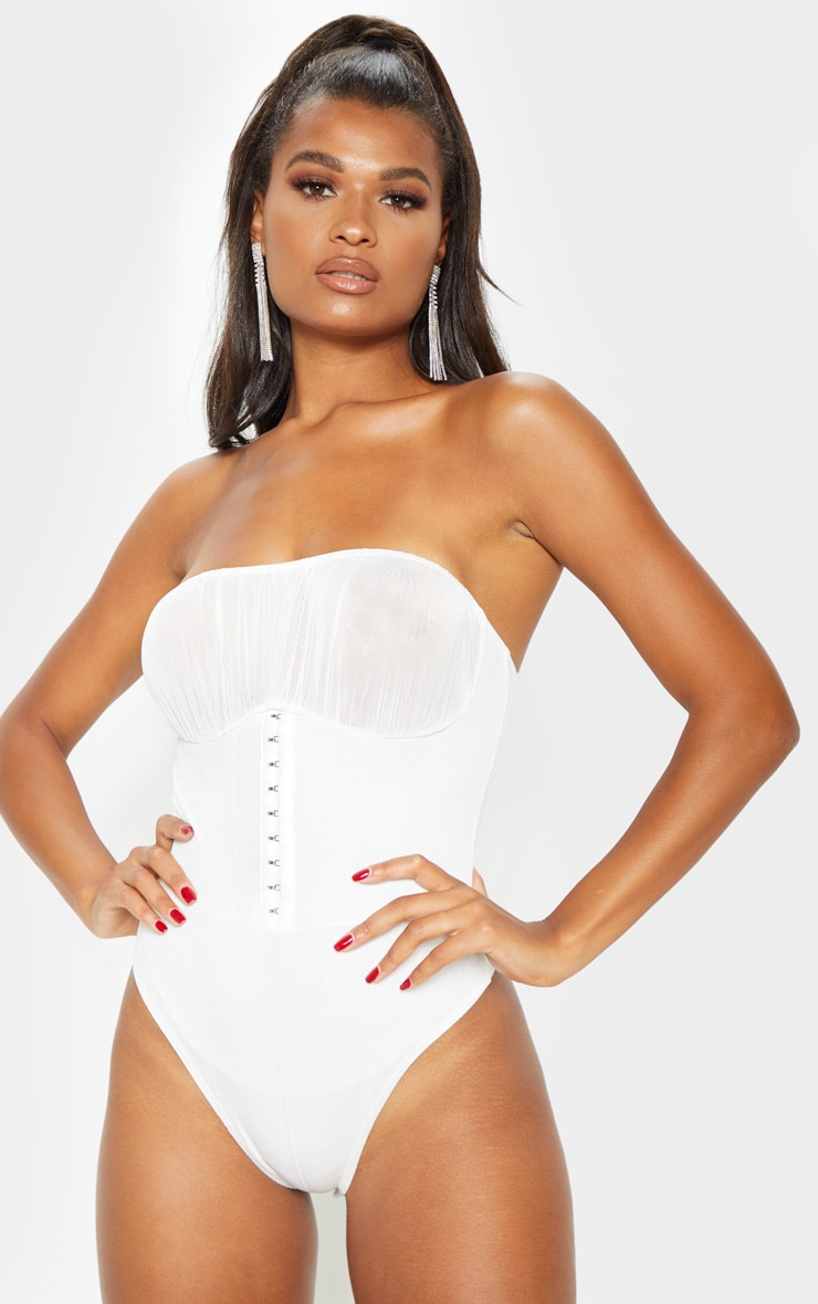 Cream Rib Hook and Eye Chiffon Bust Bodysuit  2