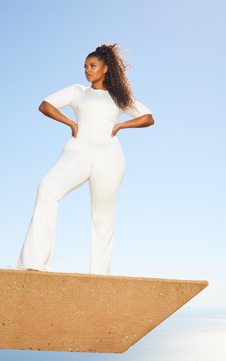 Plus White Second Skin Short Sleeve Flare Leg Jumpsuit 1