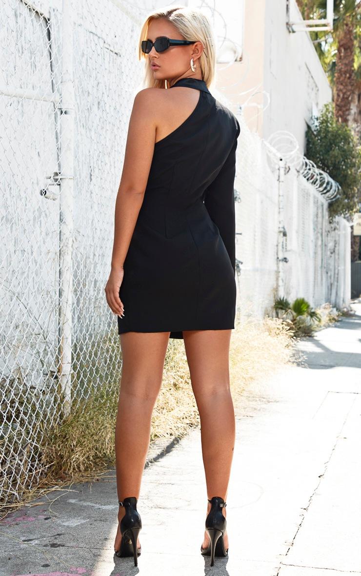 Black One Shoulder Satin Detail Gold Button Blazer Dress 2