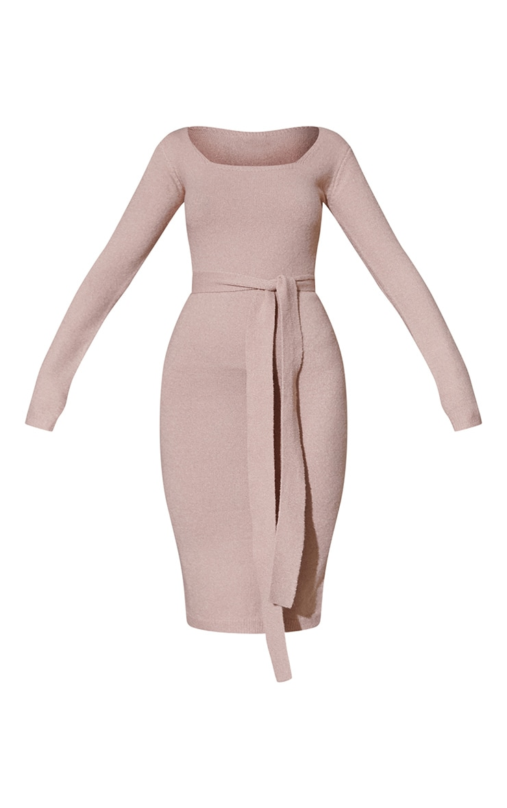 Camel Recycled Belted Square Neck Knitted Midi Dress 5