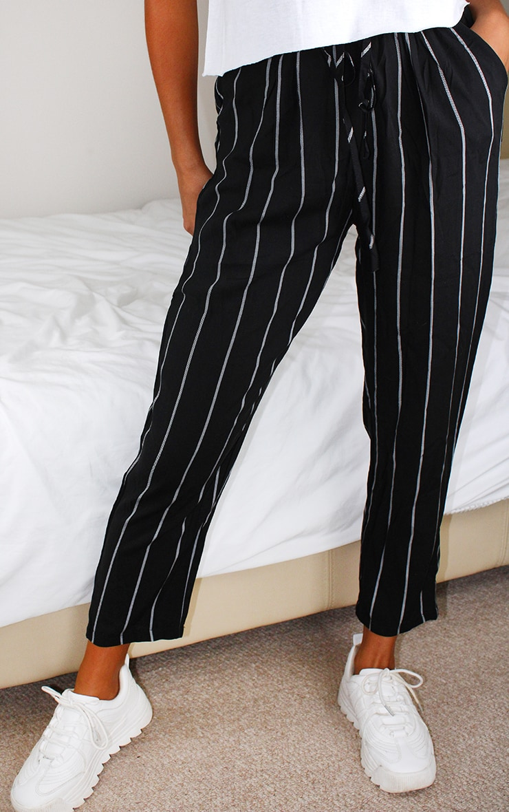 Petite Monochrome Stripe Casual Pants 3