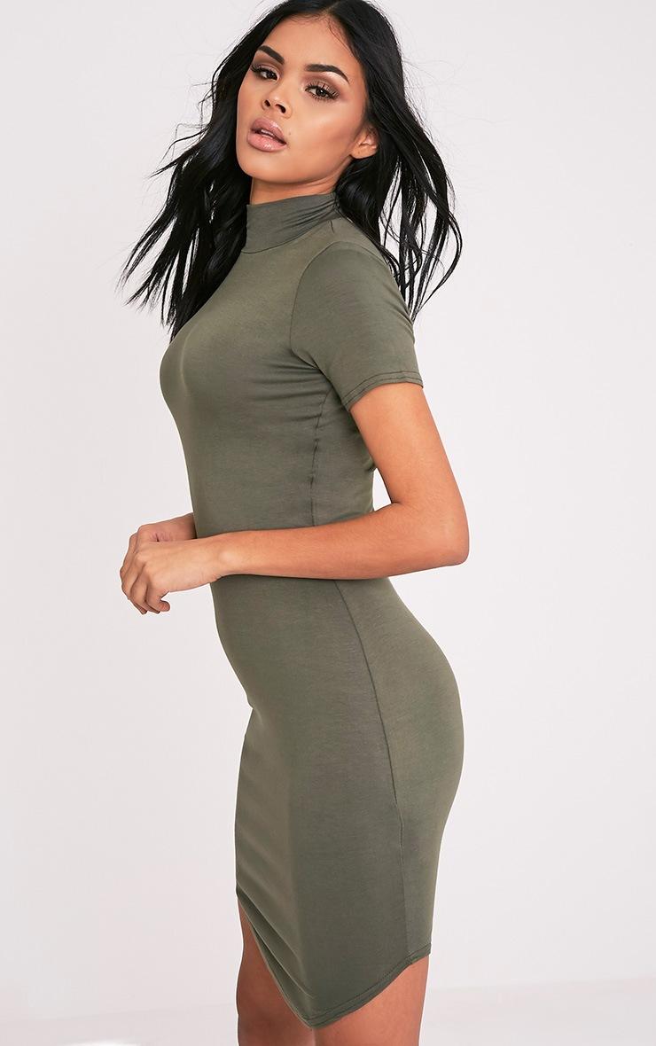 Alby Khaki Cap Sleeve Curve Hem High Neck Dress 4