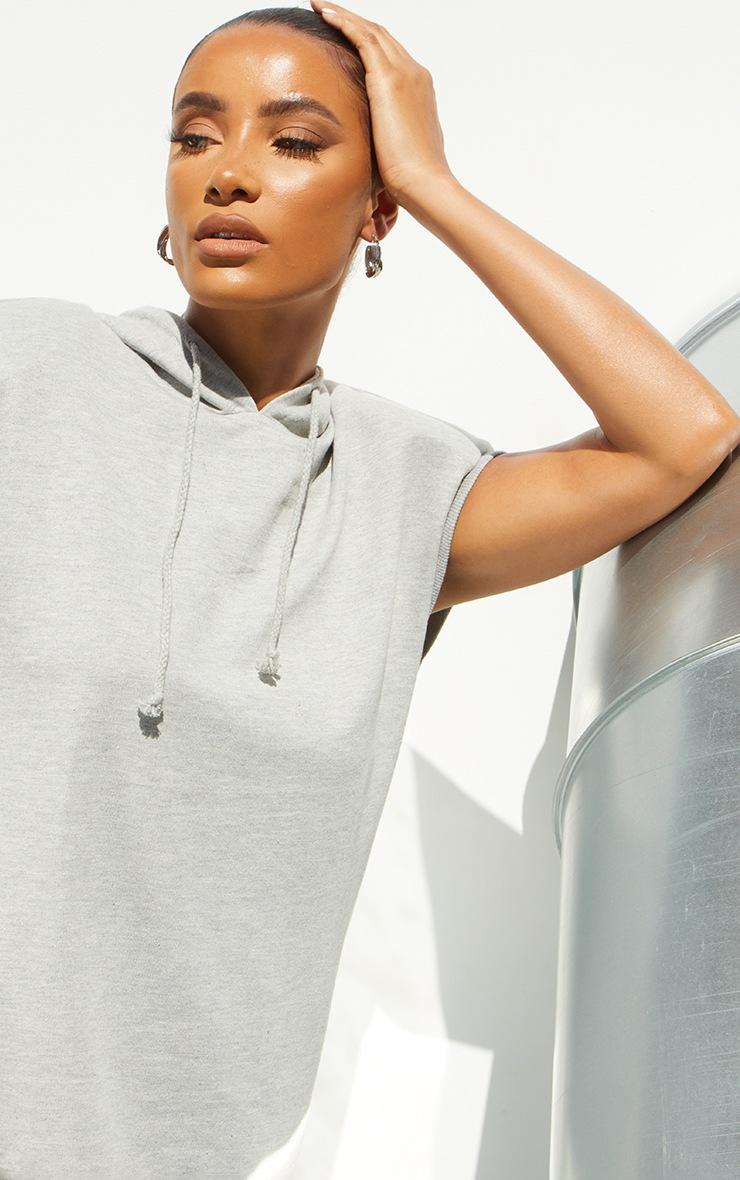 Grey Marl Shoulder Pad Sleeveless Hooded Sweat Jumper Dress 4