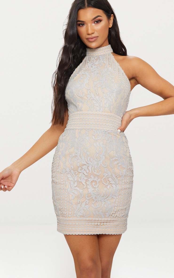 Ice Grey High Neck Lace Crochet Bodycon Dress 1