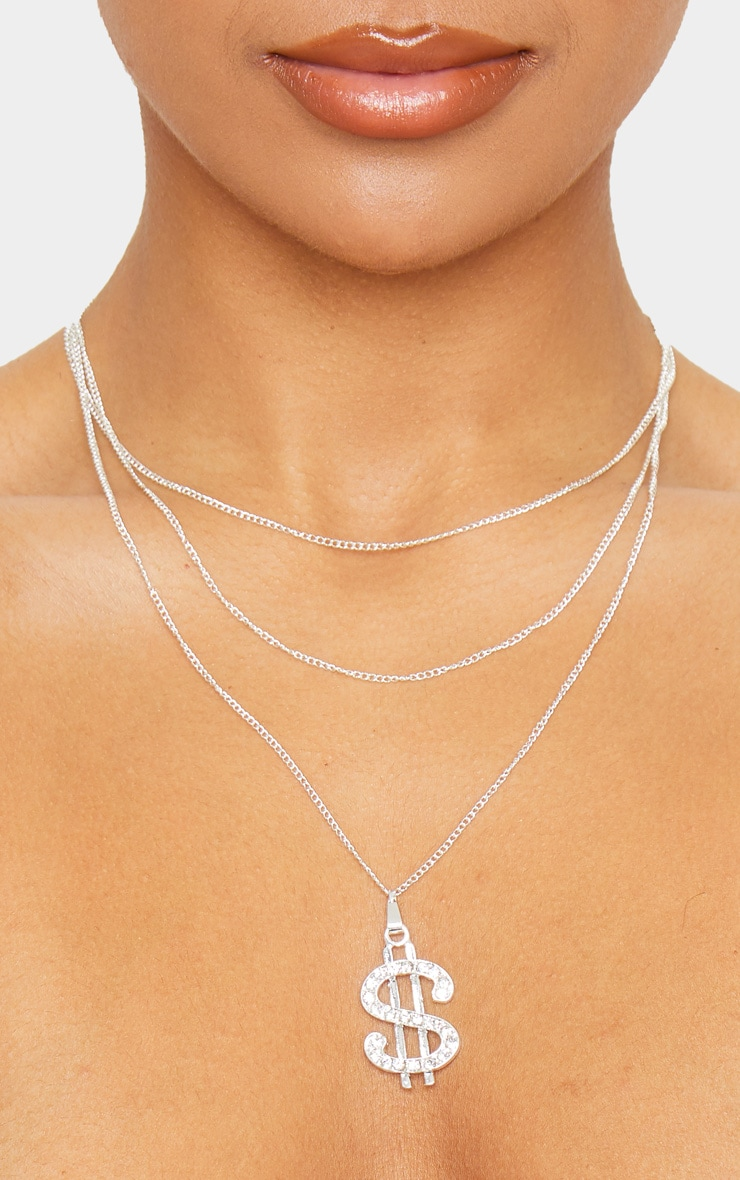 Silver Diamante Dollar Sign Layering Necklace 3