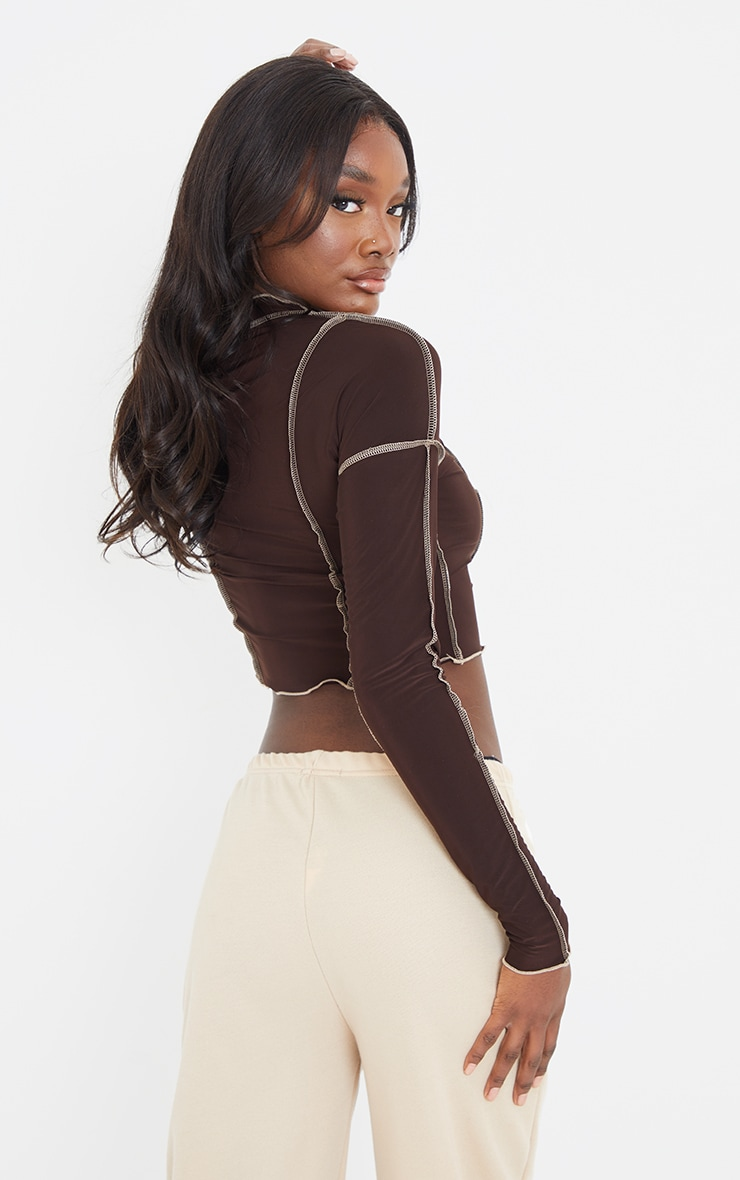 Tall Chocolate Contrast Seam Detail Soft Touch Crop Top 2