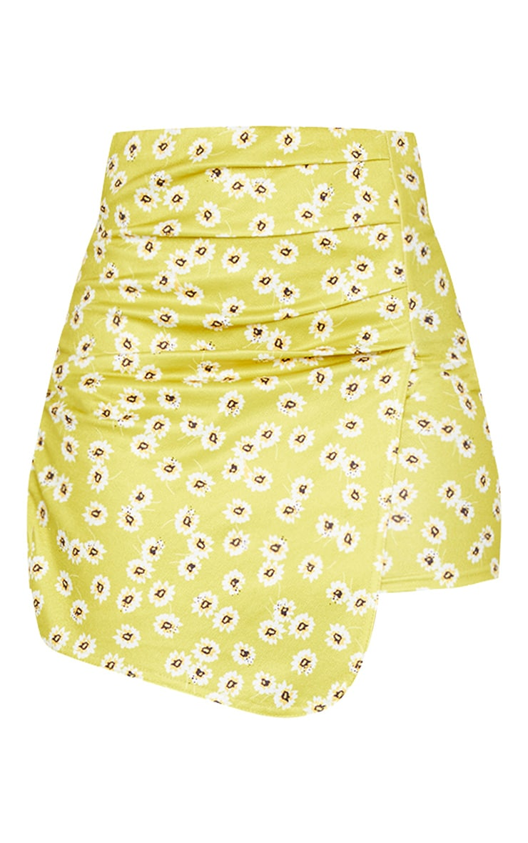 Lime Floral Ruched Wrap Mini Skirt 6