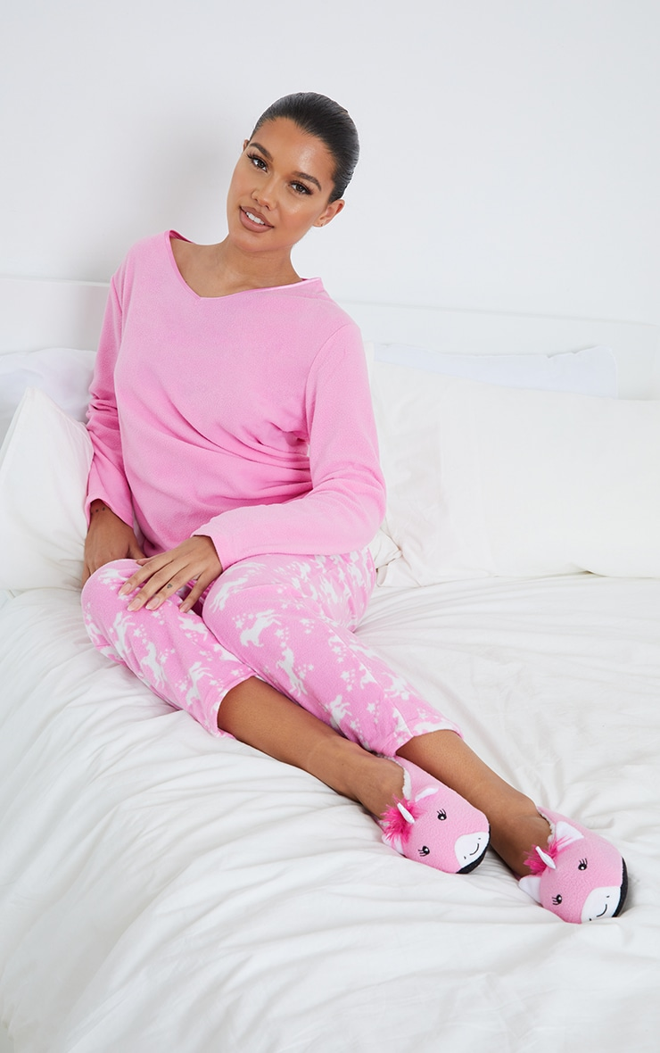 Pink Unicorn 3 Piece PJ Set With Slippers 1