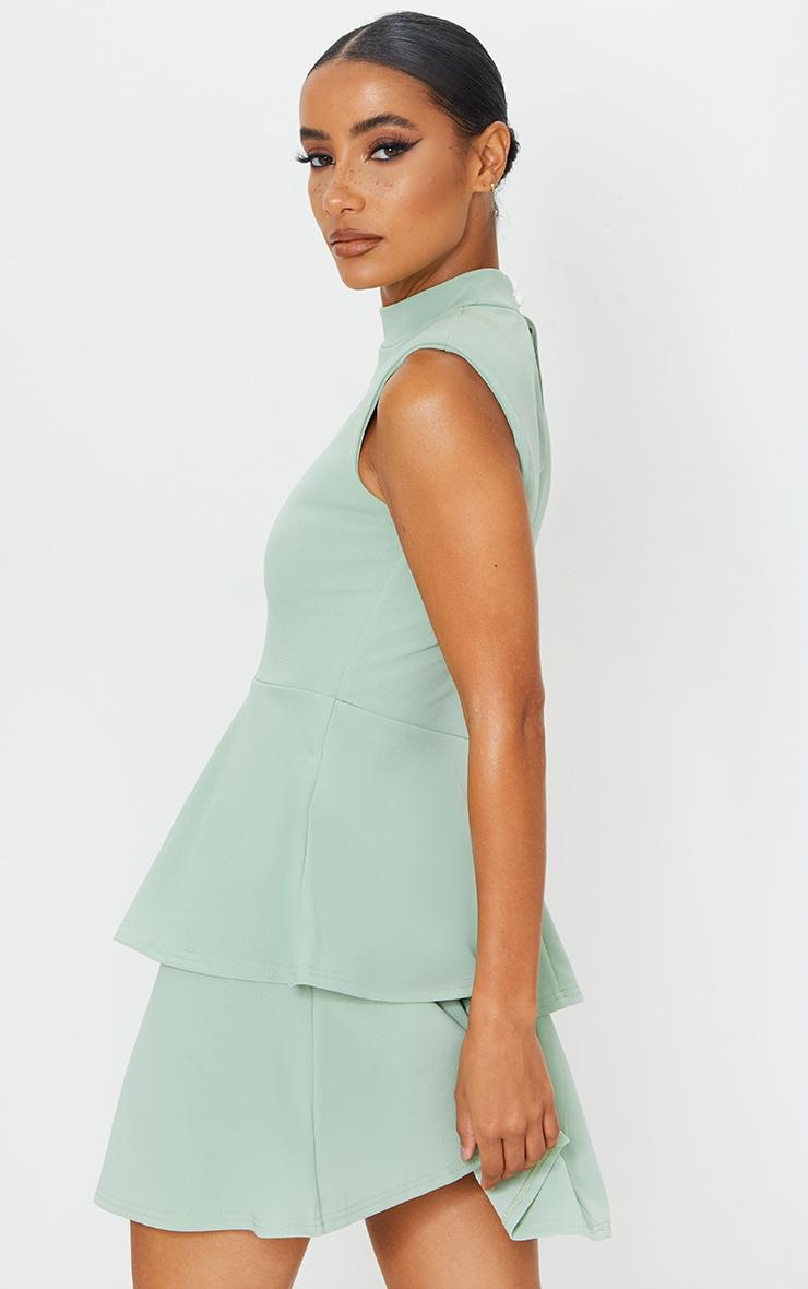 Sage Green Sleeveless Shoulder Pad Detail Tiered Skater Dress 2