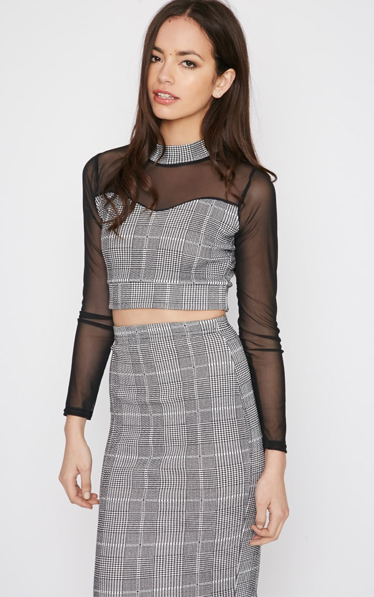 Alayna Monochrome Checked Mesh Crop Top  1