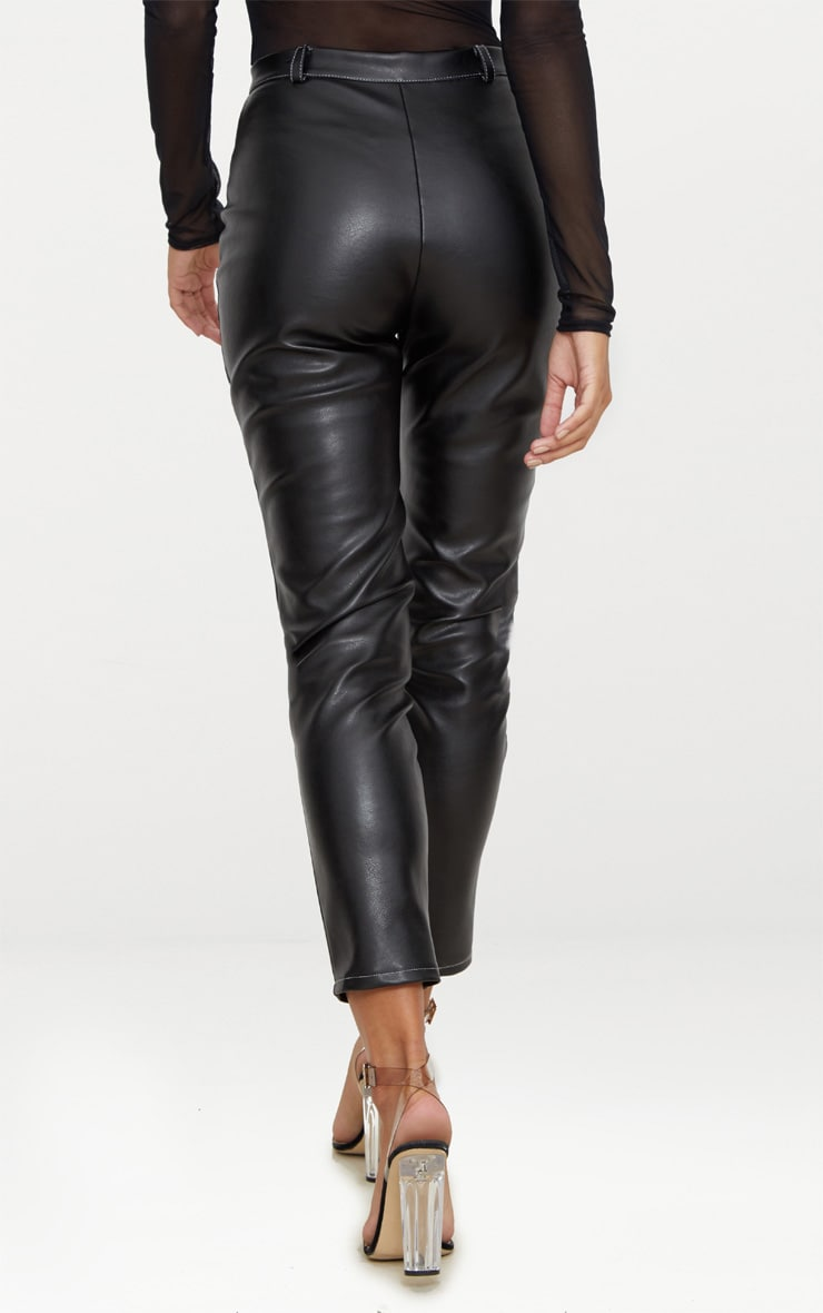 Black Faux Leather Contrast Stitch Pants 4
