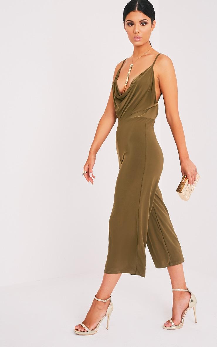 Sofia Khaki Scoop Front Cullotte Slinky Jumpsuit 4