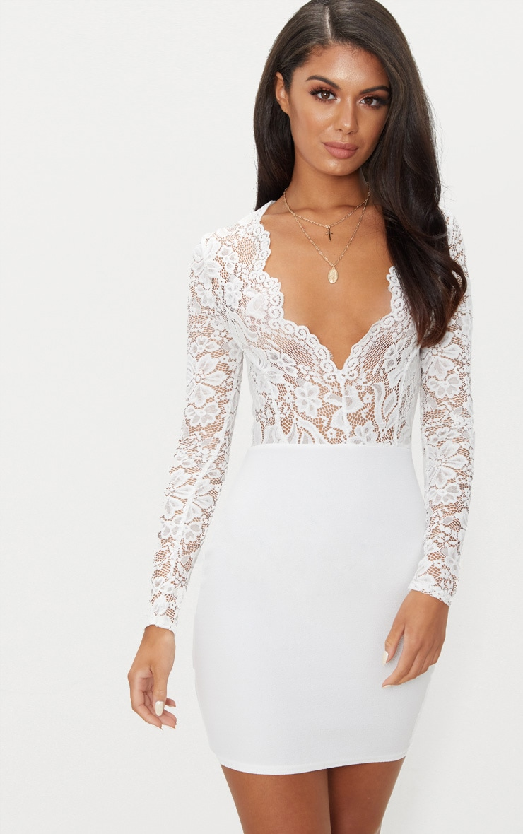 White Lace Top Long Sleeve Bodycon Dress 1