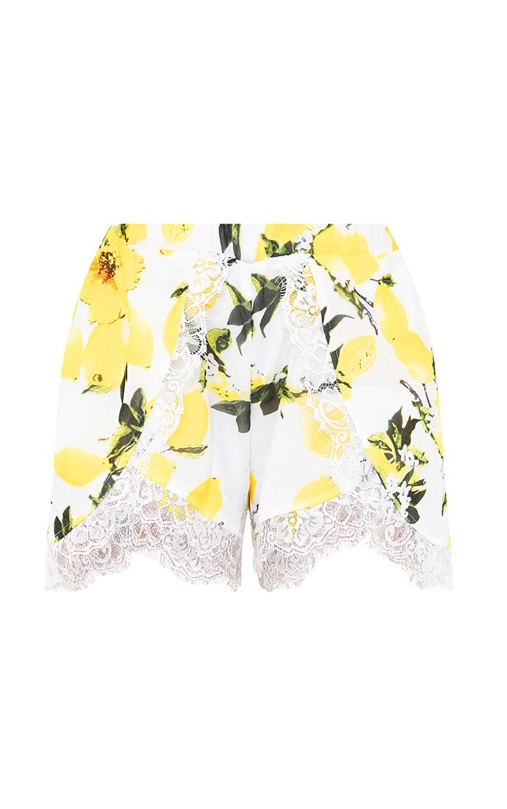 White Lemon Print Lace Trim Shorts 3