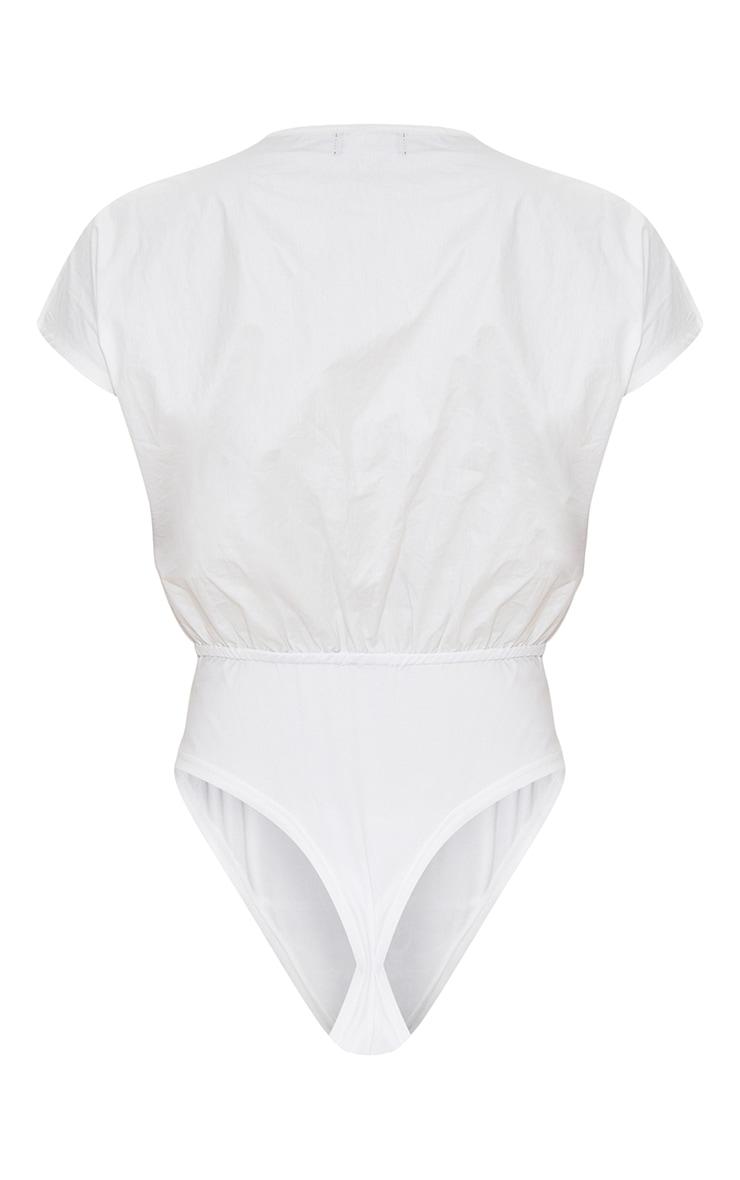White Woven Wrap Front Plunge Cap Sleeve Bodysuit 6