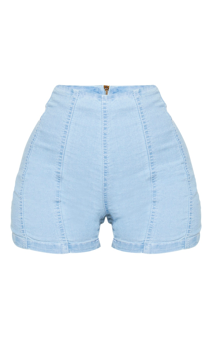 Shape Light Wash Denim Contrast Stitch Fitted Shorts 7