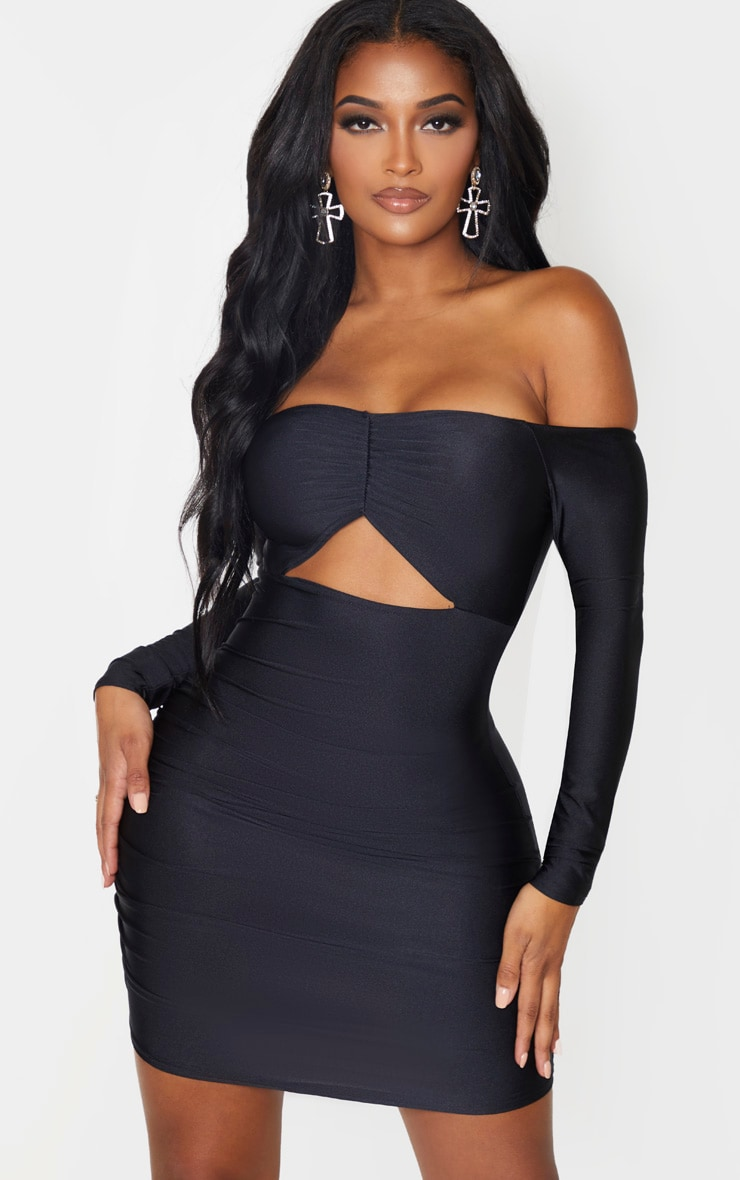 Black Slinky Bardot Ruching Bust Bodycon Dress 1