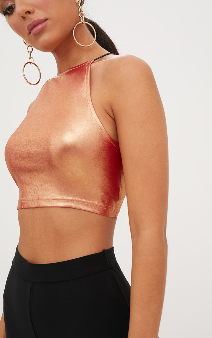Lucianna Rose Gold Metallic Crop Top 5