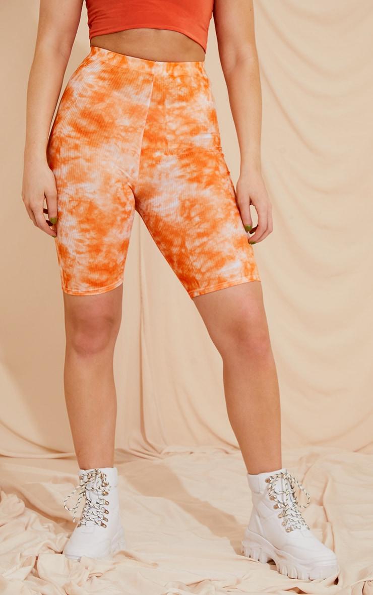 Orange Tie Dye Rib Cycle Shorts 2