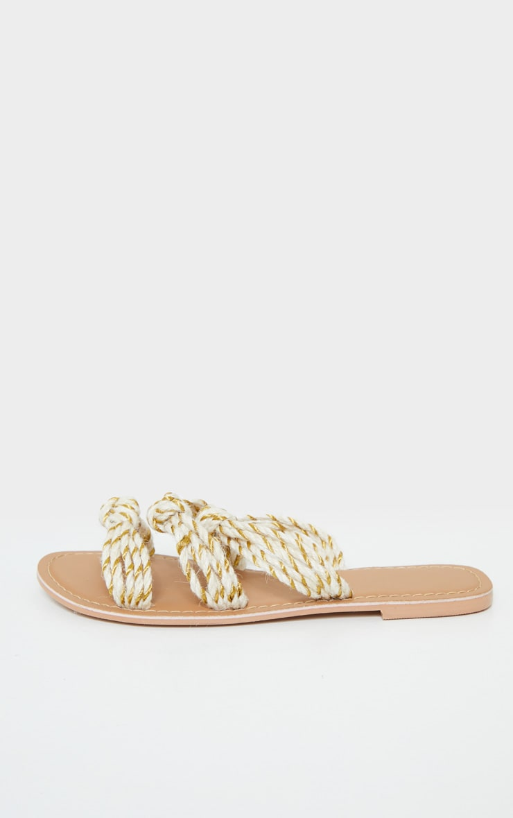 Nude Triple Strap Knot Rope Sandal 4