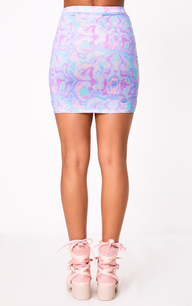 Multi Tie Dye Double Split Mini Skirt  3