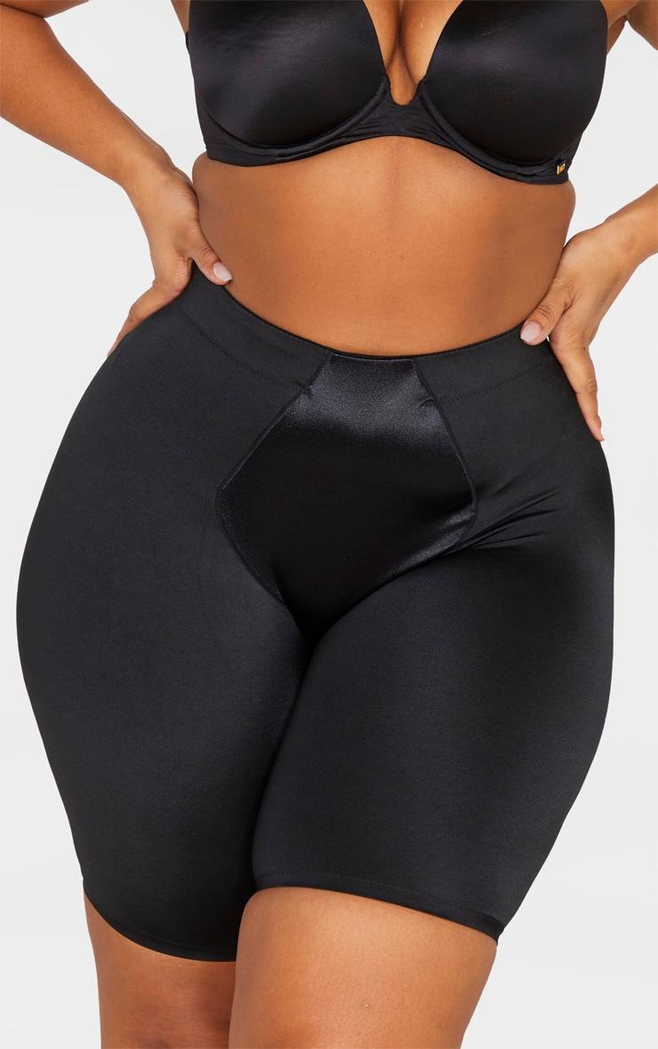 Plus Black Satin Panelled High Waist Control Shapewear Shorts 4