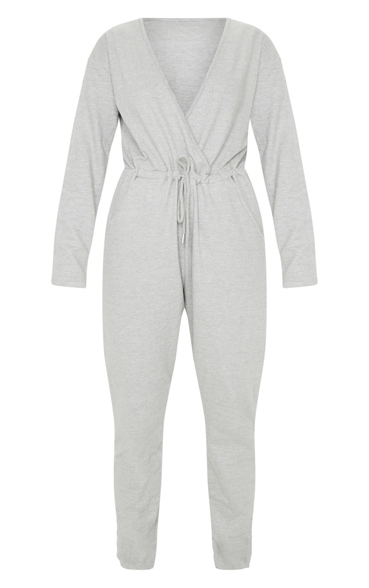 Grey Wrap Over Long Sleeve Sweat Jumpsuit 5