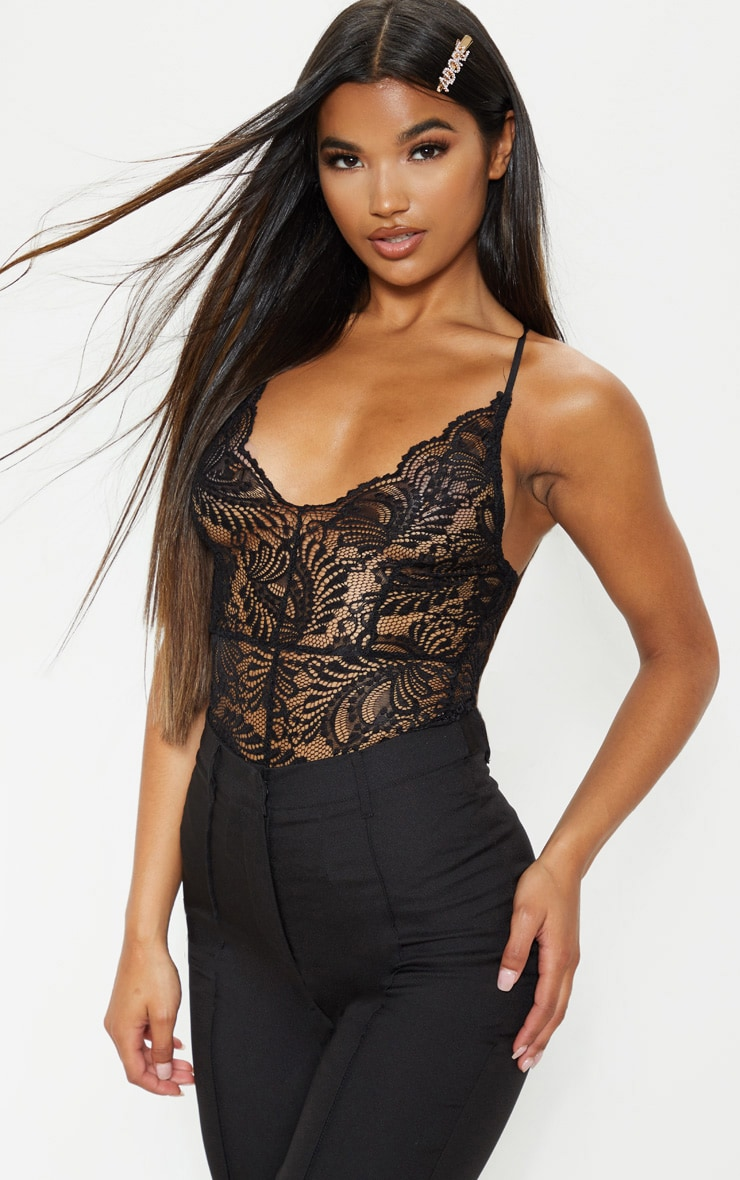 Lucille Black Sheer Lace Cross Back Bodysuit 1