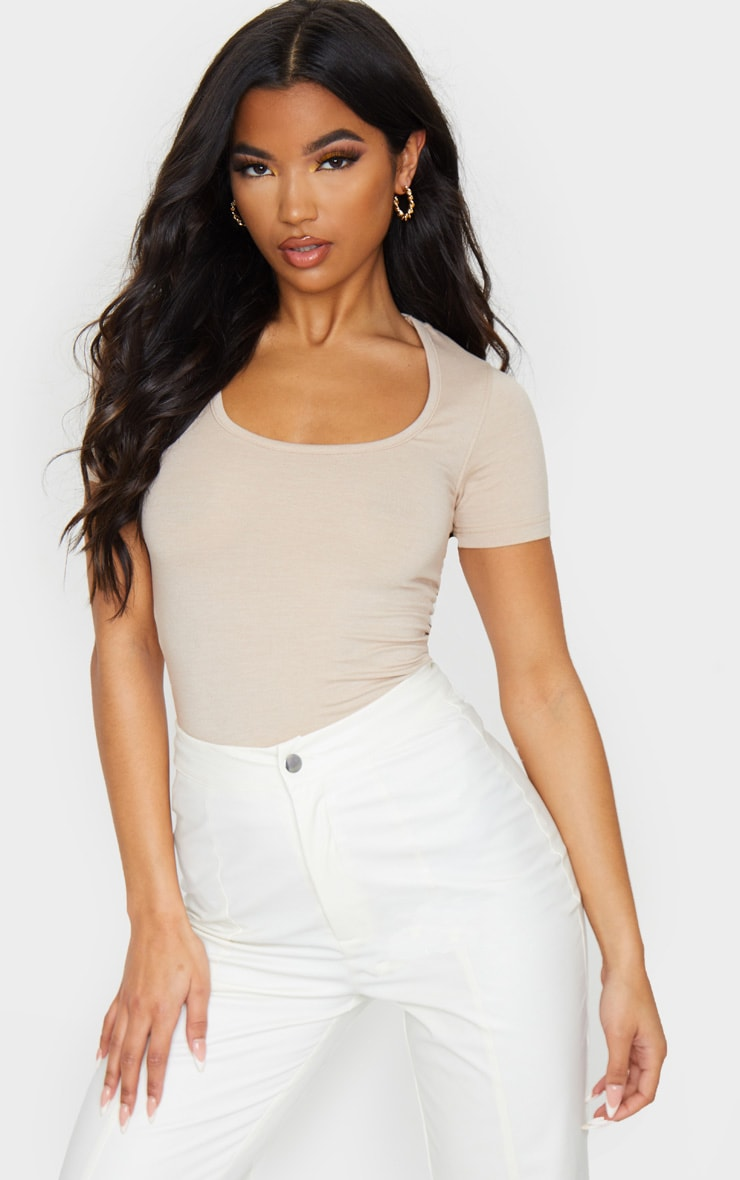 nude basic fitted scoop neck t shirt