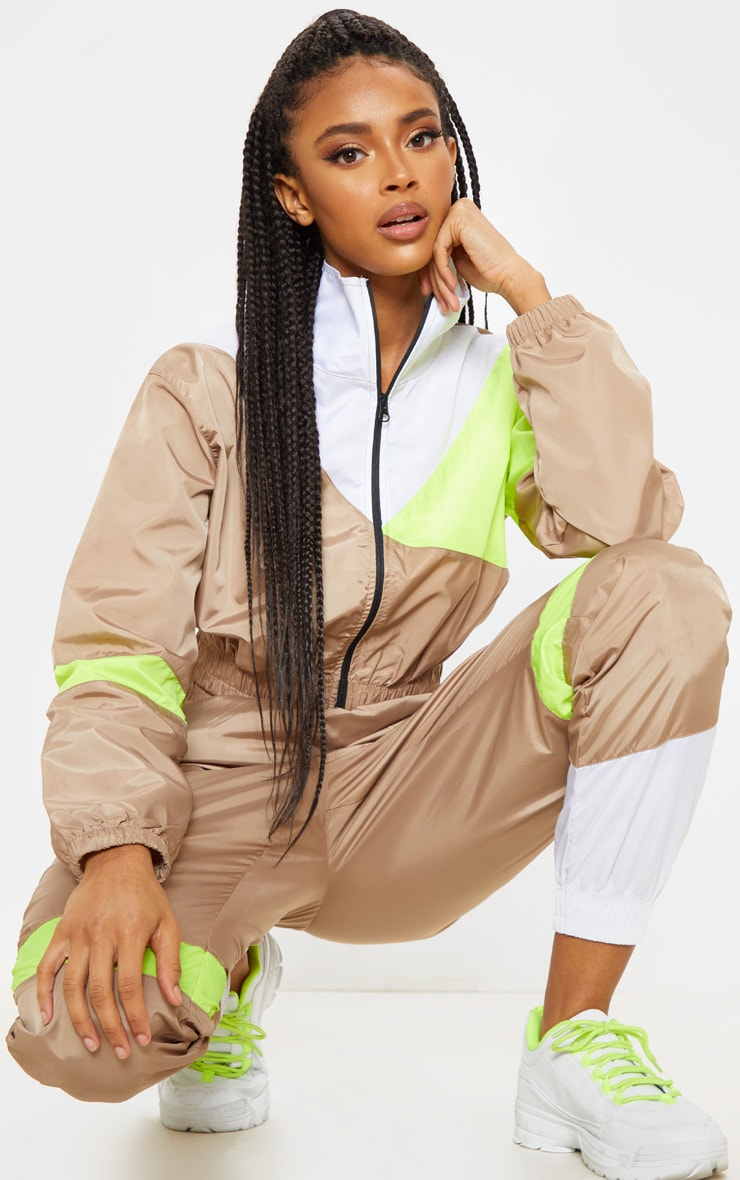 Camel Color Block Tracksuit Jacket 4