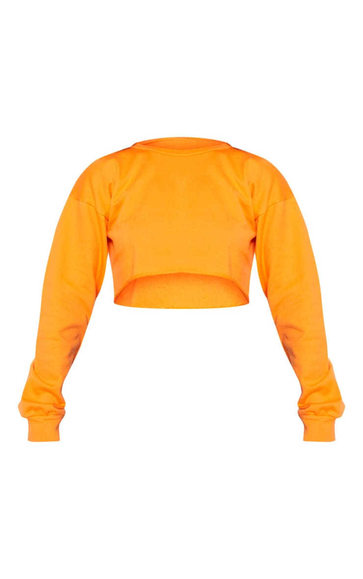 Hot Orange Cut Off Crop Longsleeve Sweater 3