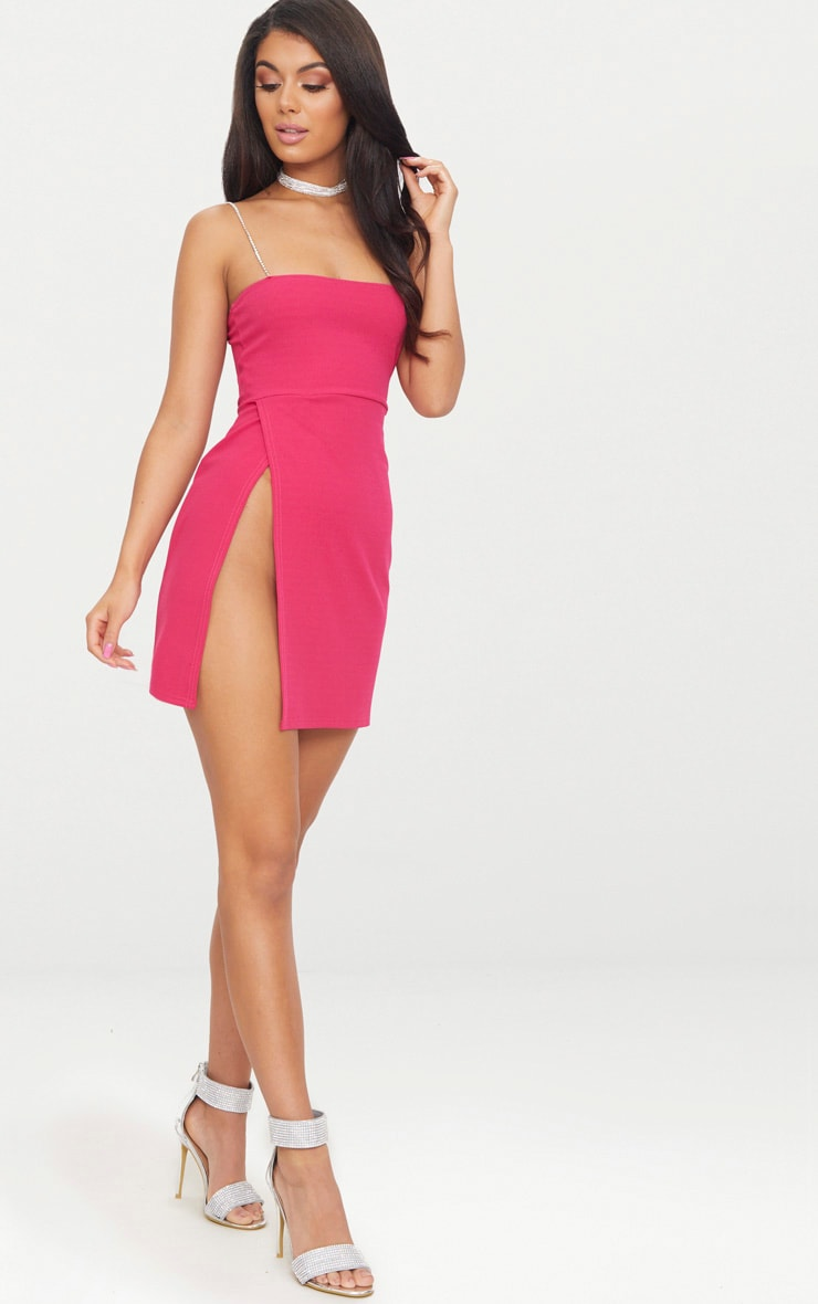 Fuchsia Diamante Strap Straight Neck Bodycon Dress 4