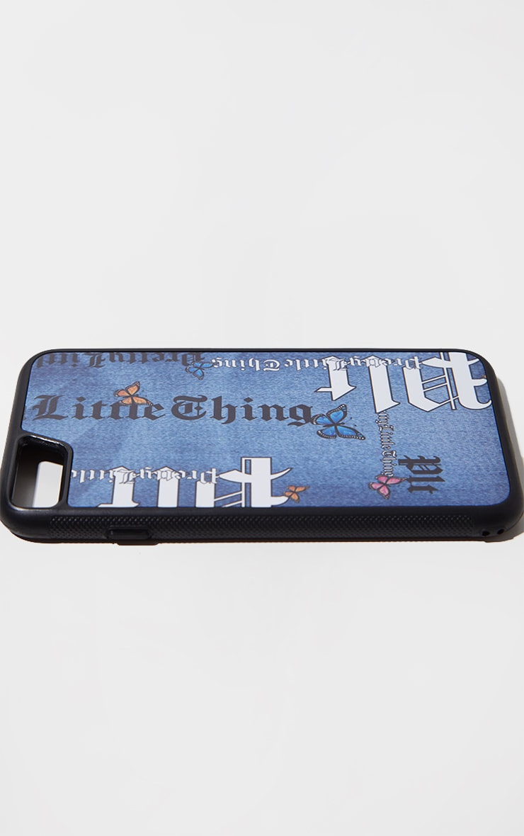 PRETTYLITTLETHING Blue Denim Look Butterfly Iphone 8 Phone Case 2
