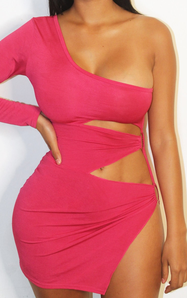 Shape Hot Pink Slinky One Shoulder Ring Detail Bodycon Dress 4
