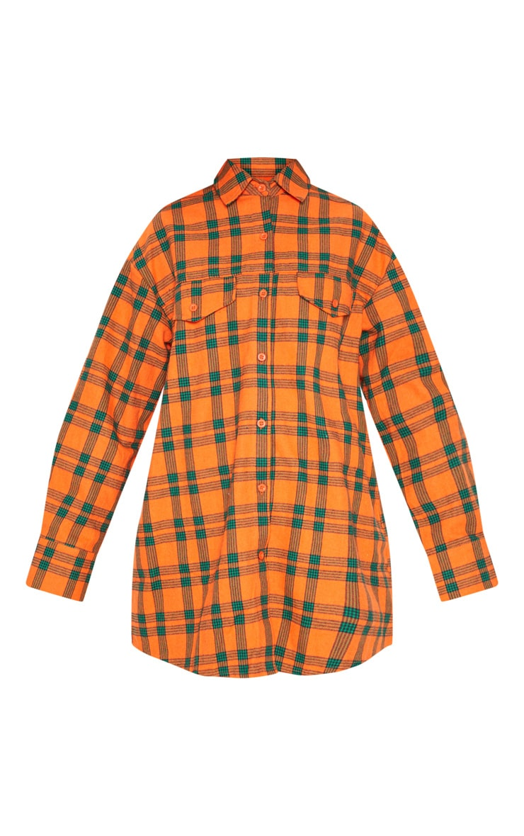 Orange Tartan Checked Oversized Shirt 3
