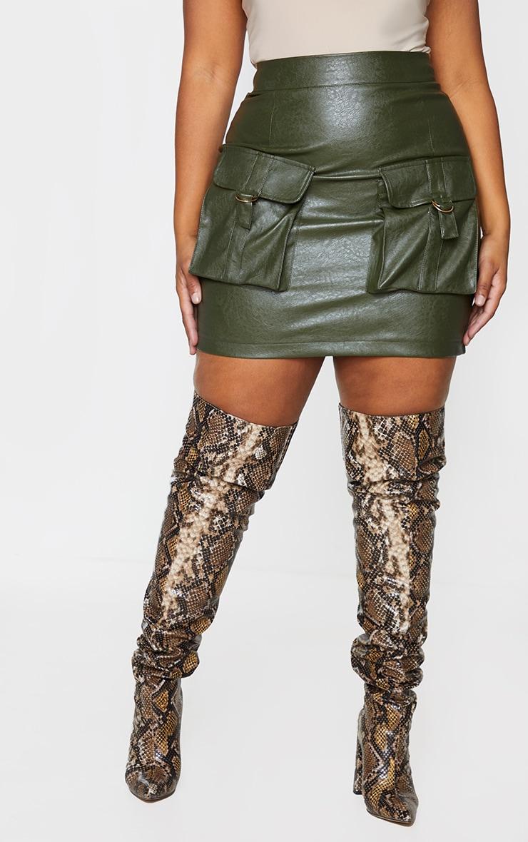Plus Khaki Faux Leather Buckle Detail Bodycon Skirt 2