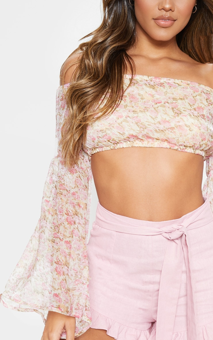 Pink Ditsy Floral Printed Chiffon Bardot Long Sleeve Crop Top 5