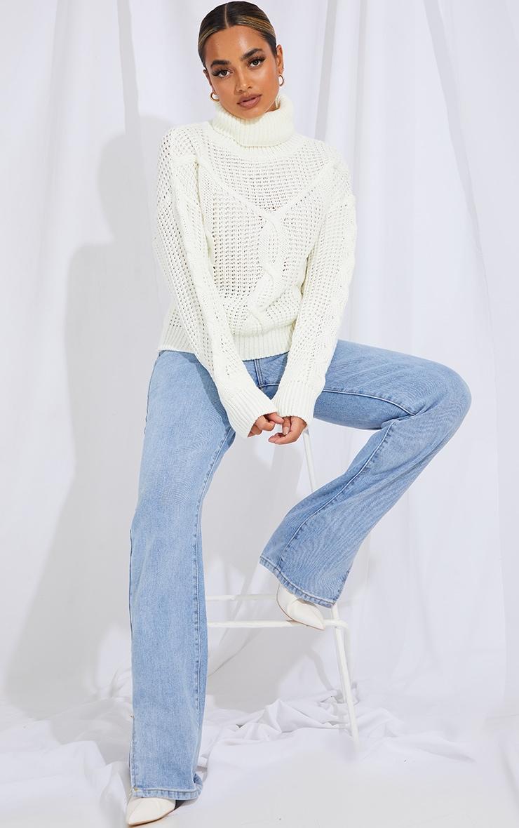 Petite White Oversized Chunky Knit Sweater  3